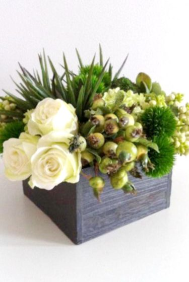 Fresh and Modern Green Goodness Rose and Berry Arrangement